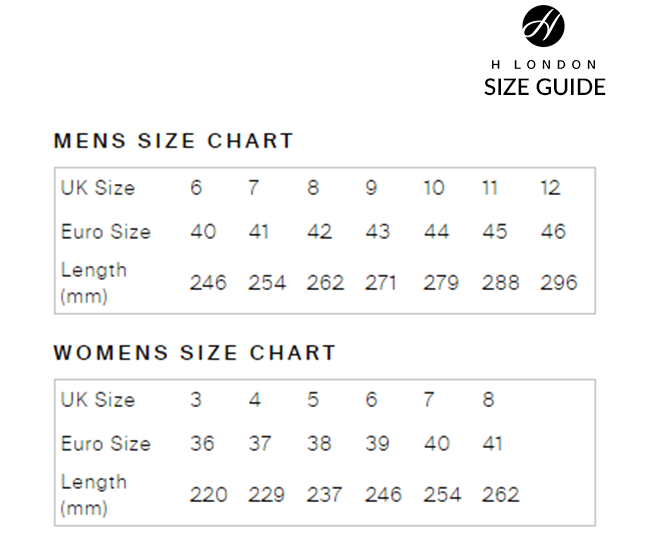 Hudson Shoes Size Guide