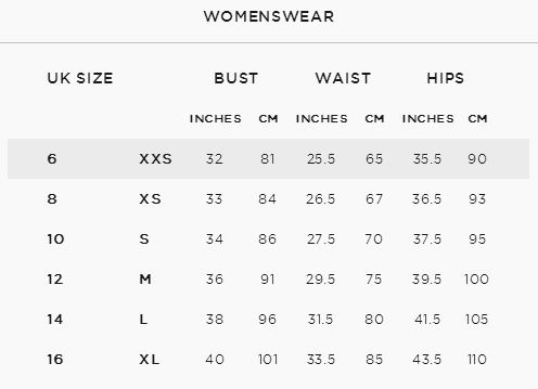 French connection womens size guide