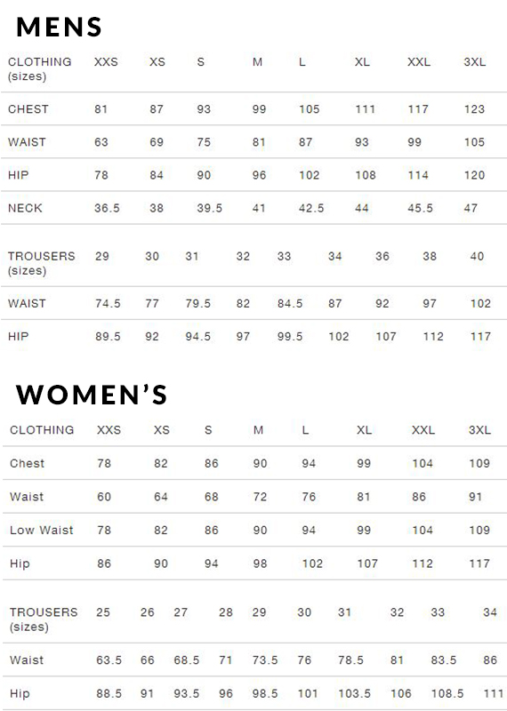 woolrich size guide