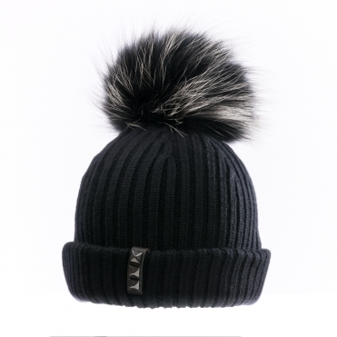 BKLYN Black/Black White Womens Pom Pom Hat