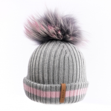 BKLYN Cerise/Grey/Pink Womens Pom Pom Hat