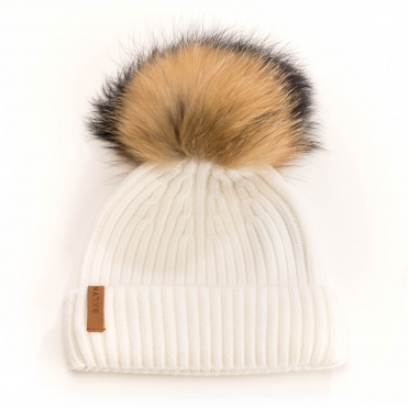BKLYN Merinos Off White Racoon Pom Womens Hat