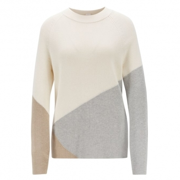 Boss Waluna Relaxed Fit Colour Block Womens Sweater