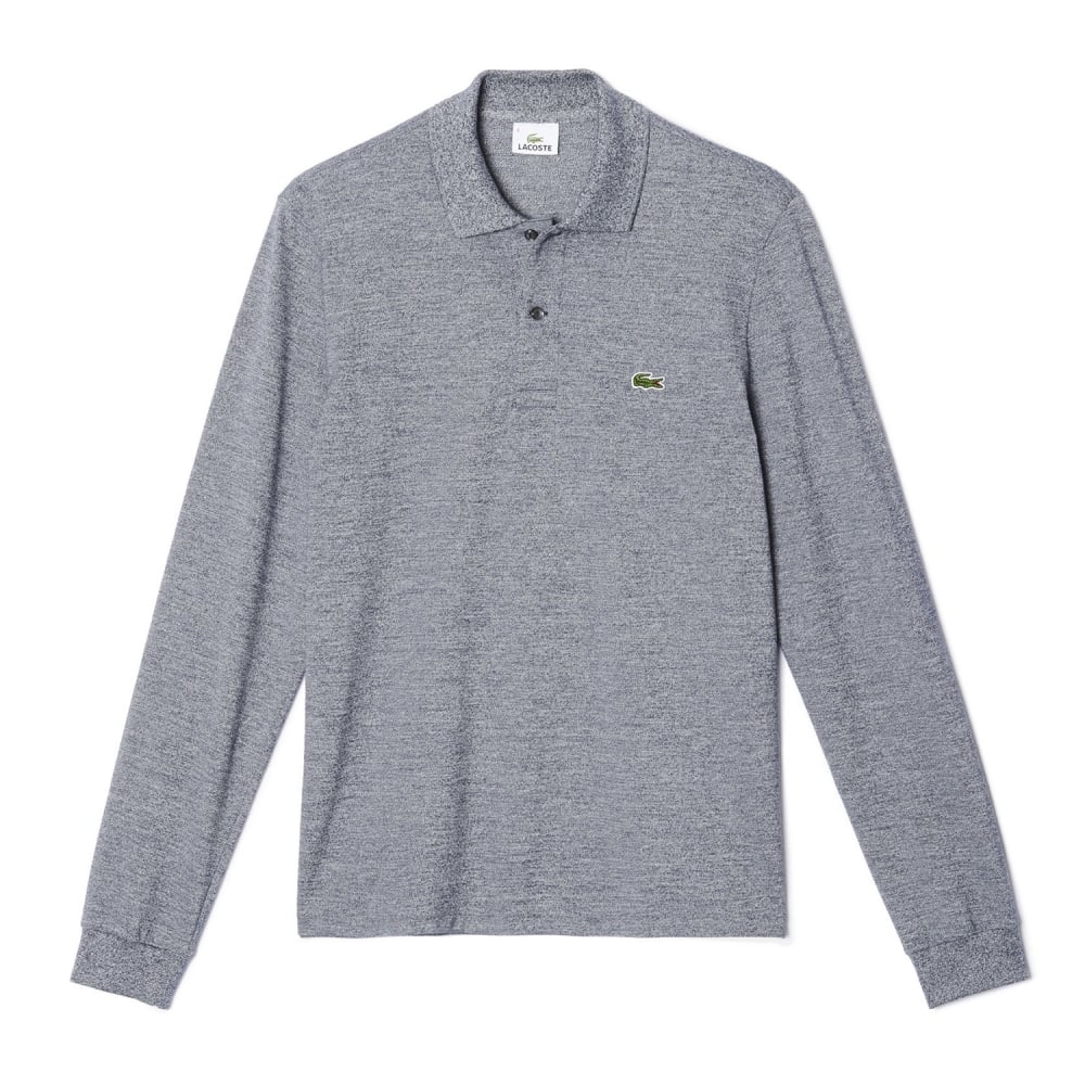 76934af1f5 ... sweden classic fit mens long sleeve polo in marl petit pique l1313  c188e 95f54