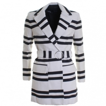 Escher Stripes Belted Womens Mac Jacket