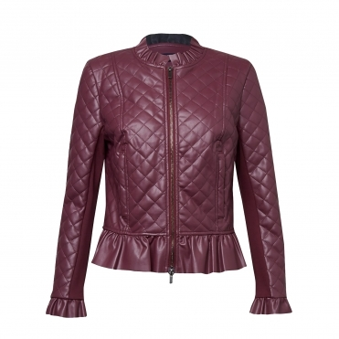 French Connection Brishen Pu Frill Edge Womens Biker Jacket
