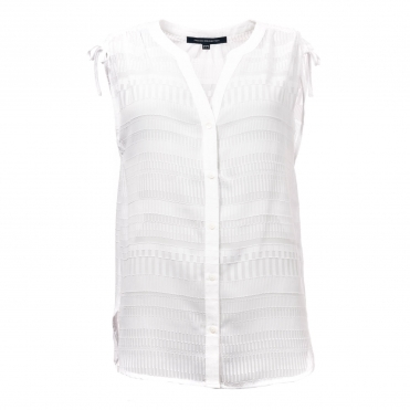 French Connection Denia Sheer Sless Womens Blouse
