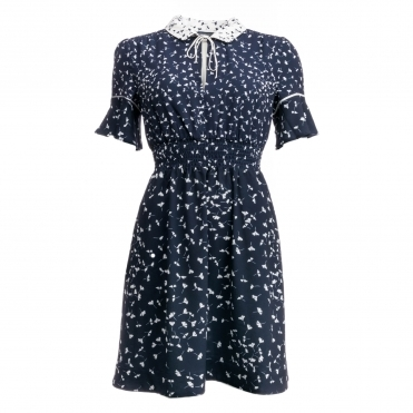 French Connection Komo Drape SS Flared Dress