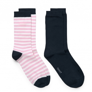 GANT 2-PK Solid and Barstripe Womens Socks