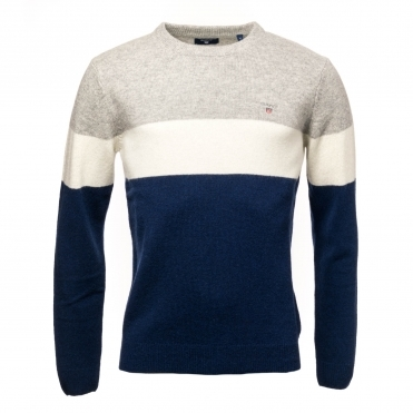 GANT Colorblock Stripe Crew Mens Sweater