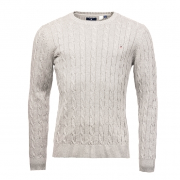 GANT Cotton Cable Crew Mens Sweater