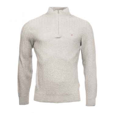 GANT Herringbone Half Zip Mens Sweater
