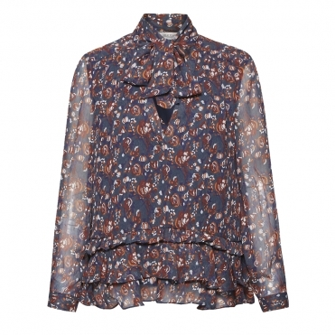 Great Plains Highland Floral Tassle Womens Blouse