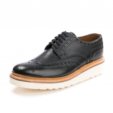 Grenson Archie Brogue Black Mens Shoe