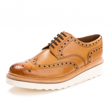 Grenson Archie Brogue Rubber Sole Tan Mens Shoe