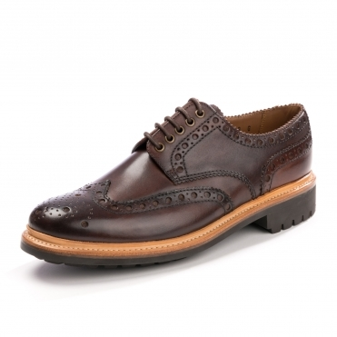 Grenson Archie Handpainted Dark Brown Mens Brogue