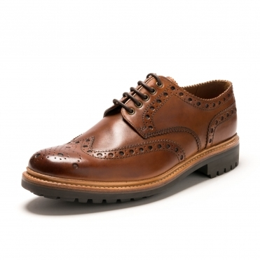 Grenson Archie Tan Hand Painted Mens Brogue