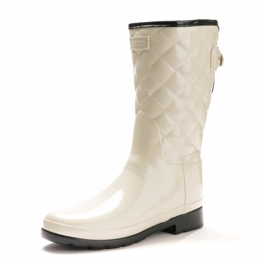 Hunter Refined Gloss Quilted Short Womens Boot
