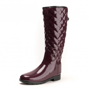 Hunter Refined Gloss Quilted Tall Womens Boot
