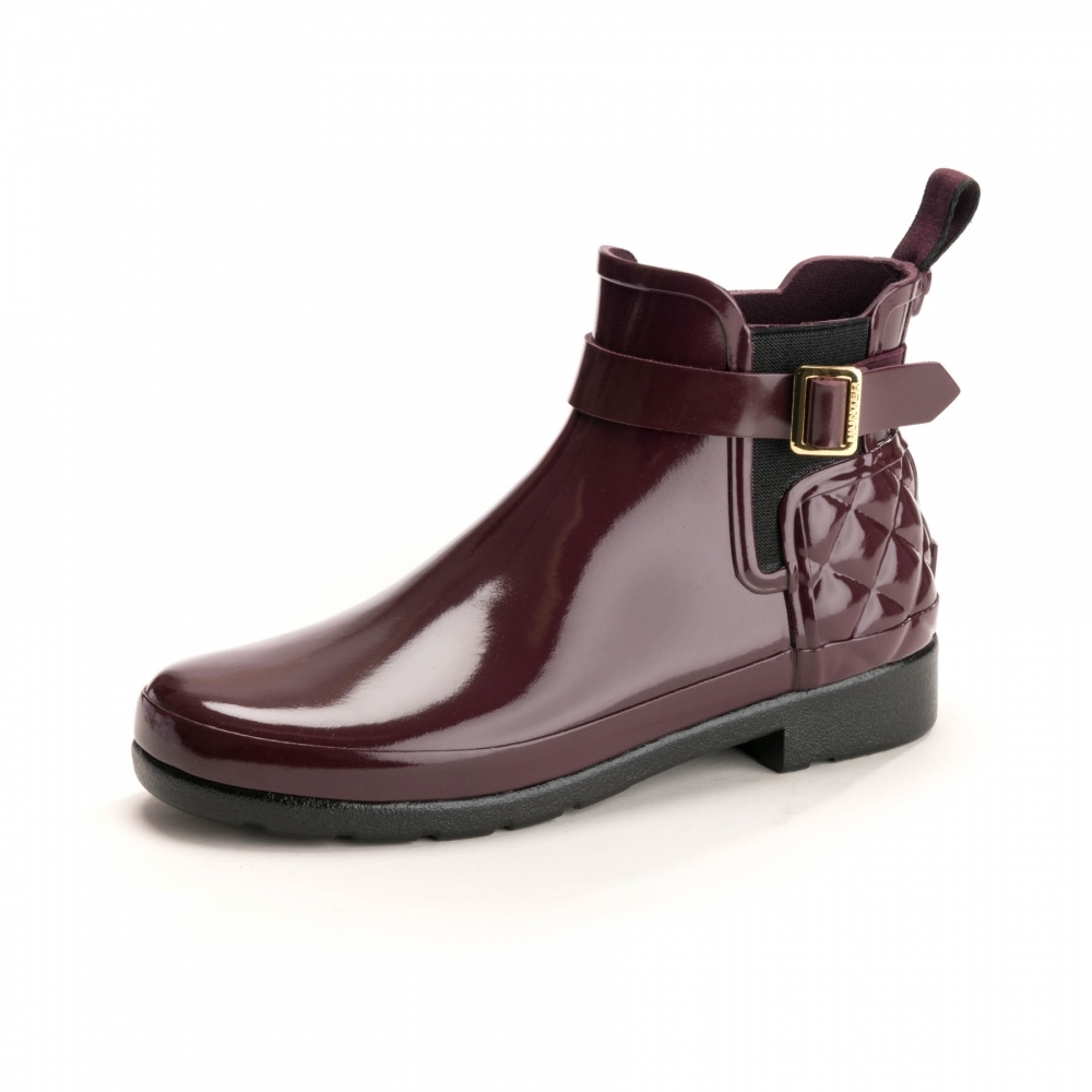 sports shoes d915e ada7d Hunter Hunter Refined Gloss Quilted Womens Chelsea Boots