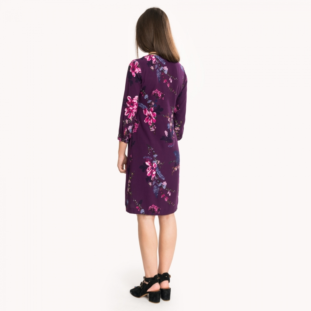 Joules Womens Alison Woven Dress in PLUM HARVEST FLORAL