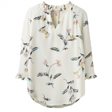 Joules Bethan Womens Pop Over Shirt With Ruffle Detail S/S 19