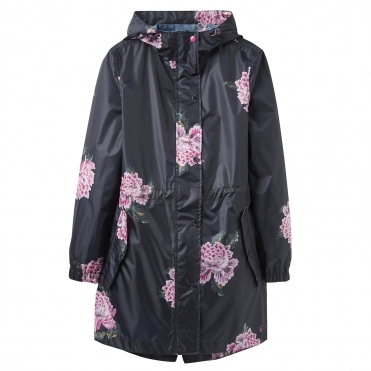 Joules Golightly Printed Waterproof Womens Packaway Coat (Z)
