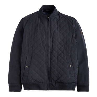 Joules Halton Quilted Mens Bomber Jacket With Textured Ribs (Y)