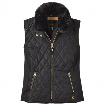 Joules Inverness Quilted Womens Gilet With Faux Fur Collar (Z)