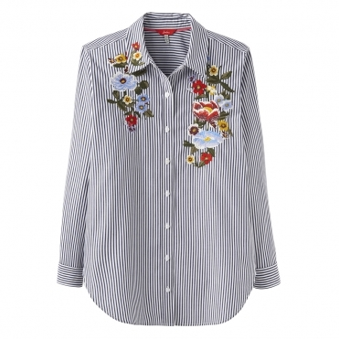 Joules Laurel Embroidery Womens Button Through Shirt S/S 19