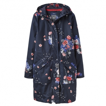 Joules Raine Long Print Womens Printed Long Length Waterproof Jacket S/S 19