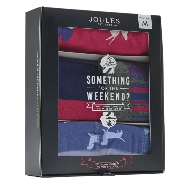 Joules Something For The Weekend Mens 2 Pack Of Pants And Socks Set S/S 19