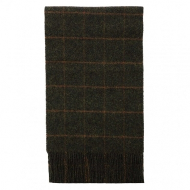 Lambswool Scarf - Green Tweed
