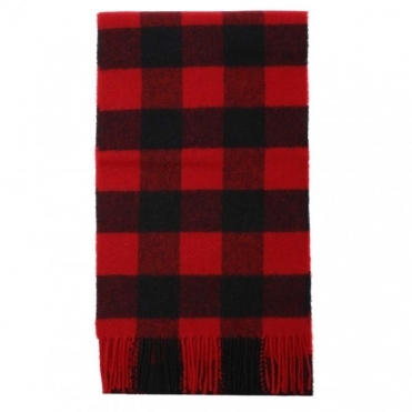 Lambswool Scarf - Red Check