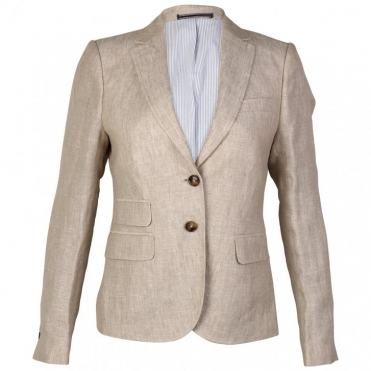 Linen Ladies Blazer With Elbow Patches