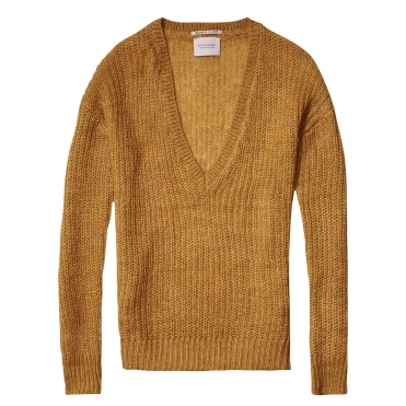 Maison Scotch Deep V-Neck Soft Womens Knit