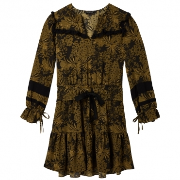 Maison Scotch Long Sleeve Printed Contrast Ruffle Womens Dress