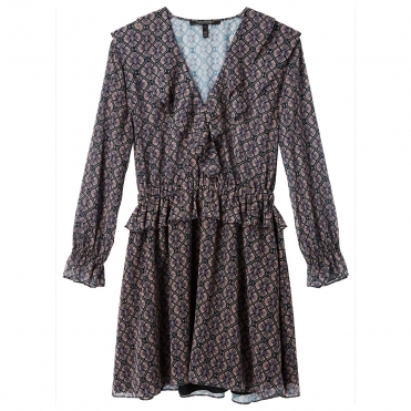 Maison Scotch Long Sleeve Ruffle Detailed Womens Dress