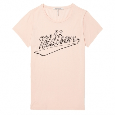 Maison Scotch Open Crew Neck Graphic Womens Tee