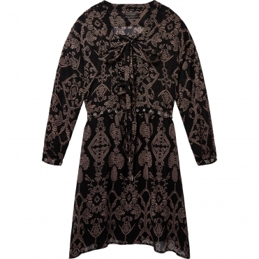 Maison Scotch Printed Sheer Lace Up Oversized Womens Dress