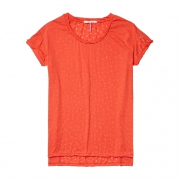 Maison Scotch Relaxed Fit Short Sleeve Burnout Womens Tee