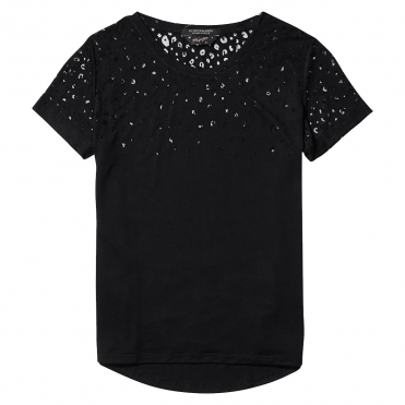 Maison Scotch Short Sleeve Burn-Out Animal Womens Tee