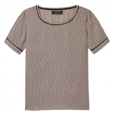 Maison Scotch Short Sleeve ladder inserts Womens Printed Top