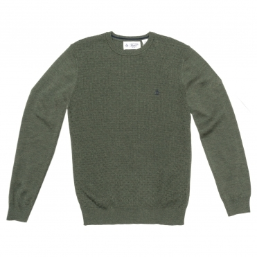 Original Penguin Italian Merino Basketweave Mens Crew
