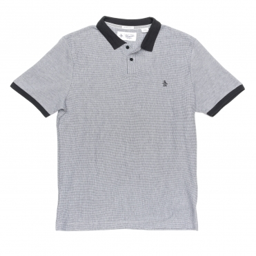 Original Penguin Short Sleeve Textured Stripe Mens Polo Shirt