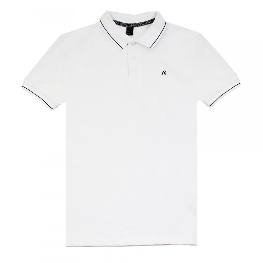 Replay solid stretch pique mens polo shirt herren from for Stretch polo shirt mens