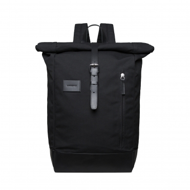 Sandqvist Dante Grand Black Backpack with Black Leather