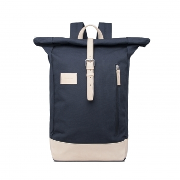 Sandqvist Dante Grand Navy Backpack with Natural Leather