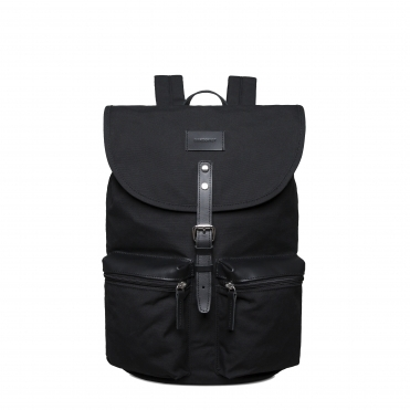 Sandqvist Roald Grand Black Backpack with Black Leather