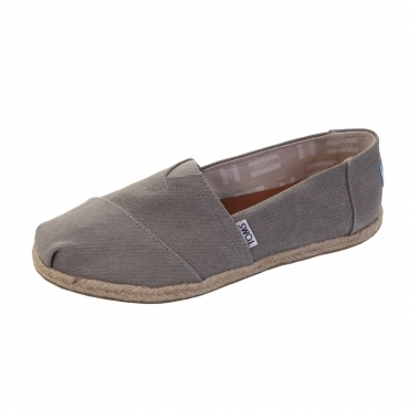 TOMS Alpargata Drizzle Grey Washed Canvas Rope Sole Womens Espadrille